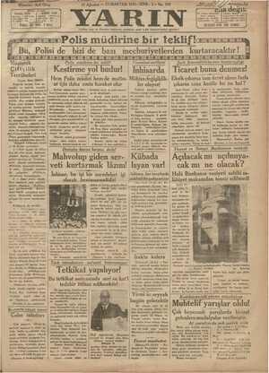 Yarın Gazetesi 15 Ağustos 1931 kapağı