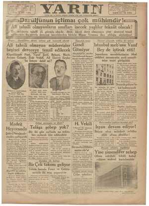 Yarın Gazetesi 16 Ağustos 1931 kapağı
