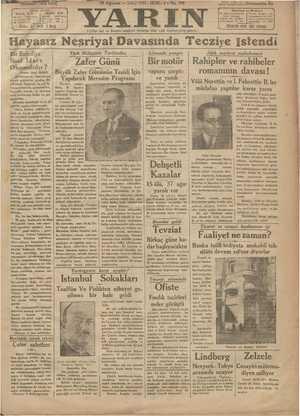 Yarın Gazetesi 18 Ağustos 1931 kapağı