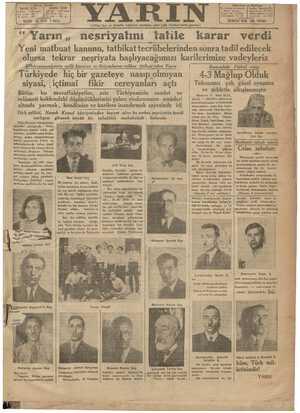 Yarın Gazetesi 19 Ağustos 1931 kapağı