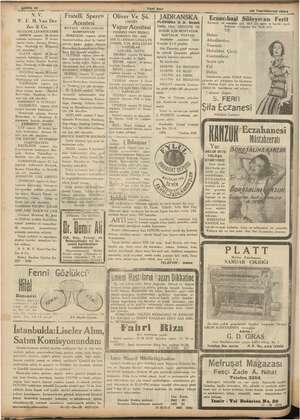 ile 12 üm e , Yeni Asır eda e 26 Teşrinievvel 1934 | NV Fratelli Sperco Oliver Ve Şü. NSKA Eczacıbaşi Süleyman Ferit F.H.