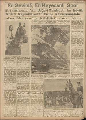 """ZSahte « > """"Ens Yeni Asır evimli, En Heyecanlı Spor 16 Teşrinisani 1934 At Yarışlarının Asıl Değeri Memleketi En Büyük..."""