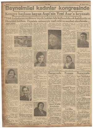 """:. 6 Yeni Asır Beynelmilel kadınlar kongresinde """" Kongre başkanı bayan Aspi'nin Yeni Asır'a beyanatı ipne meb nba çini..."""