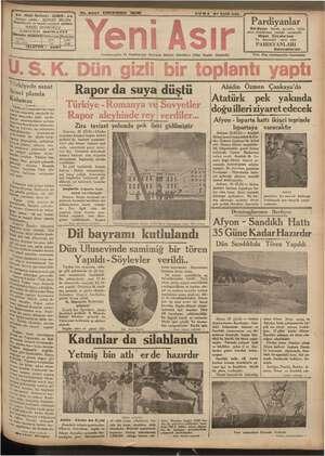 """No. 9oa7 KIRKBIRINCI SENE CUMA 27 Eylül 935 """"Gazi Bulvarı - IZMIR - e ii i ürkiyede sanat Kl planda Rapor da suya düştü a paz"""