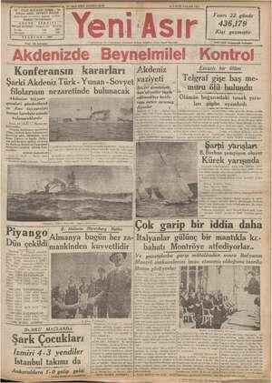 No. 9652 KIRK UÇUNCU SENE 12 EYLUL PAZAR 1937 - GAZI BULVARI İZMİR * ye z a —— dimüyaz ei le ai BİLGİN. harrir v neşriyat