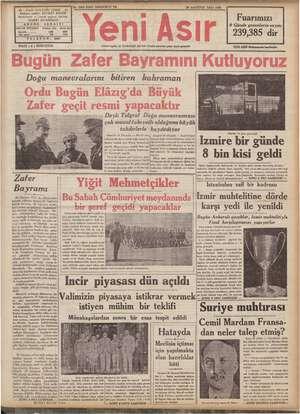1 eN - No. 9950 KIRK DÖRDÜNCÜ YIL 30 AĞUSTOS SALI 1938 - GAZI BULVARI IZMİR - 4 imüyez sahibi: ŞEVKET BILGIN m Fuarımızı...