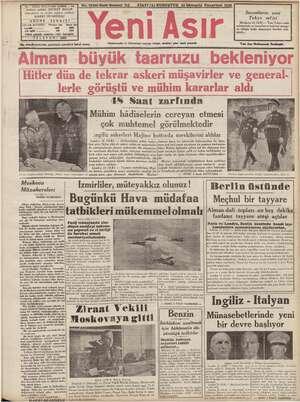 """İ GAZI BULVARI IZMIR - © 3 Yıl o FİATİ (5) KURUŞTUR 16 İlkteşrin Pazartesi 1939 """"niyaz anki ŞEVKET BILĞIN > ga laşmuharrir"""