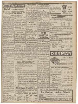 Daladiye muamması! JULES ROMAİNS Memur aranıyor , KOLOKYASI Müzayede ile fevka- lâde satı HİLÂL ECZANESİ 12/6/941 tarihinde