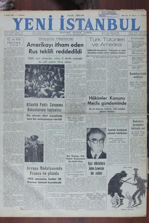 Yeni İstanbul Gazetesi 3 Aralık 1949 kapağı