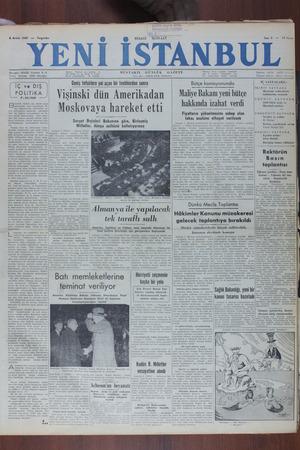 Yeni İstanbul Gazetesi 8 Aralık 1949 kapağı