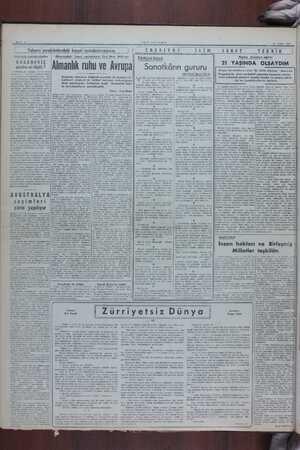 YONİ İSTANRUL 10 Aralık 1040 Yabancı memleketlerdeki hususi muhabirlerimizden Stockholm muhabirimizden Almanyadaki hususi
