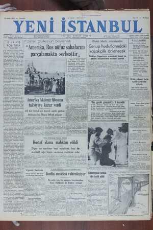 Yeni İstanbul Gazetesi 15 Aralık 1949 kapağı