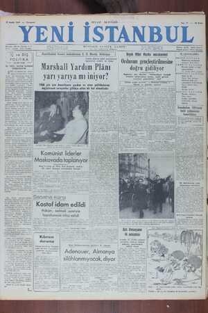 Yeni İstanbul Gazetesi 17 Aralık 1949 kapağı
