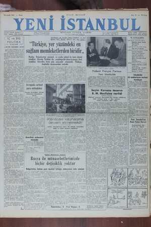 Yeni İstanbul Gazetesi 18 Aralık 1949 kapağı