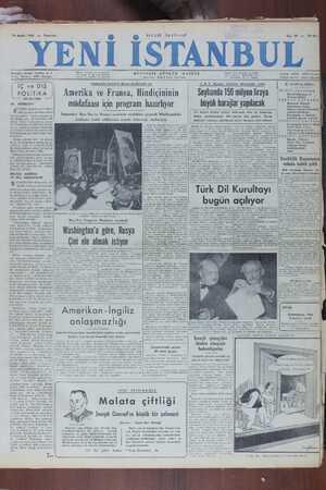 Yeni İstanbul Gazetesi 19 Aralık 1949 kapağı