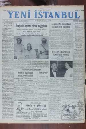 Yeni İstanbul Gazetesi 20 Aralık 1949 kapağı