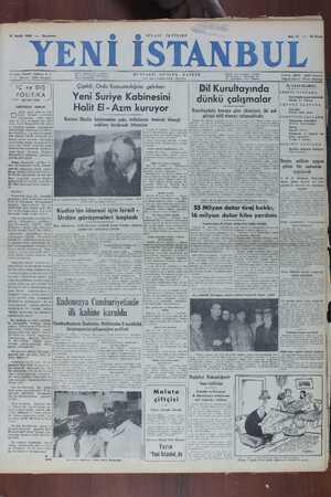 Yeni İstanbul Gazetesi 21 Aralık 1949 kapağı