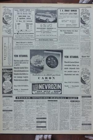 Sayfa 6 YENİ İSTANBUL 4 Nisan 1050 T. C. ZİRAAT BANKASI Türkiye GARANTİ BANKASI A.0. KÜÇÜK CARİ HESAPLARA MAHSUS 1950 Yılı