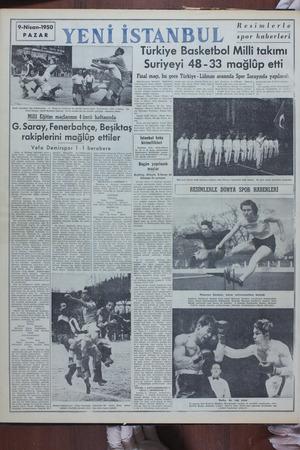 9-Nisan-1950   . PAZAR İzmir takımları dün Galatasaray ve Beşiktaş kalelerini b Jecisi Turgay, sağda Beşiktaş kalecisi -...
