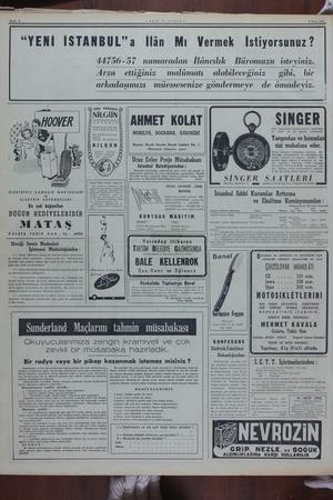"""Sayfa € — YENİ 1S1LANBUL - 9 Mayıs 1950 """"YENİ İSTANBUL""""a İlân Mı Vermek İstiyorsunuz? 44756-57 numaradan İlâncılık Büromuzu"""