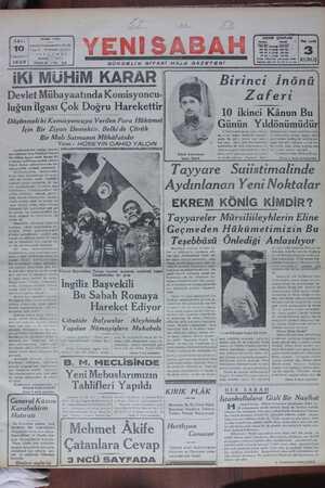 Yeni Sabah Gazetesi 10 Ocak 1939 kapağı