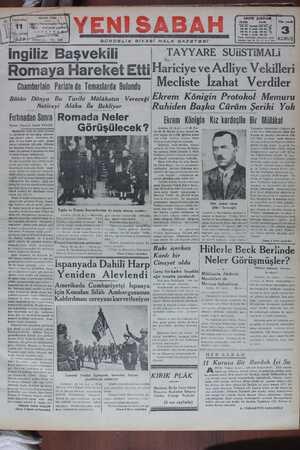 Yeni Sabah Gazetesi 11 Ocak 1939 kapağı