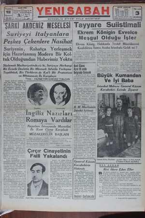 Yeni Sabah Gazetesi 12 Ocak 1939 kapağı