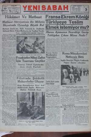 Yeni Sabah Gazetesi 13 Ocak 1939 kapağı