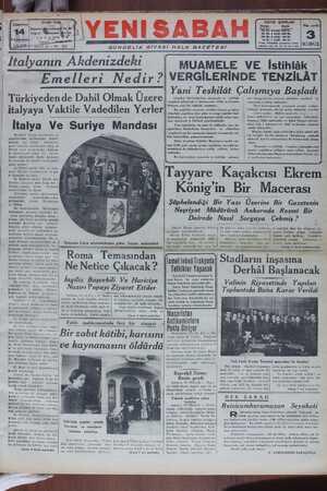 Yeni Sabah Gazetesi 14 Ocak 1939 kapağı