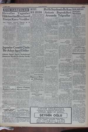 19 ŞUBAT 1006 SON HABERLER Hırvatlar Yugoslav HükümetineMuzaheret Etmiye Karar Verdiler Yeni Yugoslav hükümeti Almanya ile