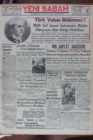 Yeni Sabah Gazetesi 12 Şubat 1939 kapağı