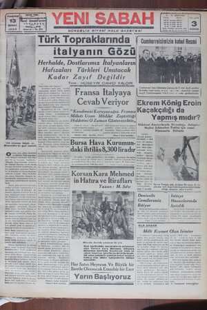 Yeni Sabah Gazetesi 13 Şubat 1939 kapağı