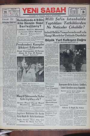 Yeni Sabah Gazetesi 10 Mart 1939 kapağı