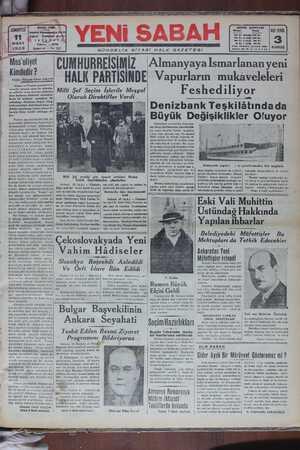 Yeni Sabah Gazetesi 11 Mart 1939 kapağı