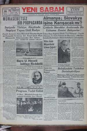 Yeni Sabah Gazetesi 12 Mart 1939 kapağı