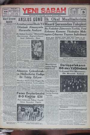 Yeni Sabah Gazetesi 13 Mart 1939 kapağı