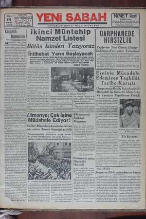 Yeni Sabah Gazetesi 14 Mart 1939 kapağı
