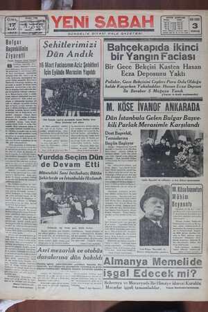 Yeni Sabah Gazetesi 17 Mart 1939 kapağı