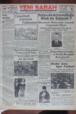 Yeni Sabah Gazetesi 18 Mart 1939 kapağı