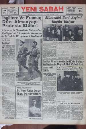 Yeni Sabah Gazetesi 19 Mart 1939 kapağı