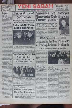 Yeni Sabah Gazetesi 20 Mart 1939 kapağı