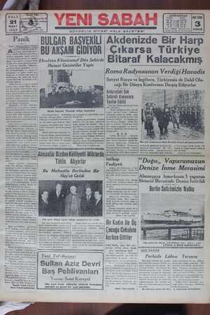 Yeni Sabah Gazetesi 21 Mart 1939 kapağı