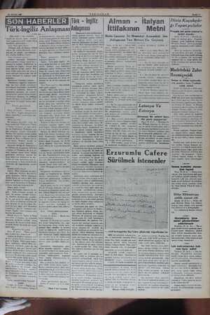 * büyük bir küvvet temin  etmiştir. 14 MAYIS iaae SÖON HABERLER Türk-ingiliz Anlaşması (Baş tarafı 1 inci sayfada) le...
