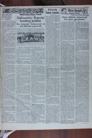S MAYIS 1910 - Beyoğluspor Demirsporu 1-2 yendi Ankara sporun tertib etmiş oldu- u fütbol turmuvasına dün / Taksim...
