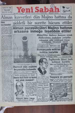 """Alman kuvvederi dun iWVlajıno hnatlına da îıımi:fakıyetleri Işlddetll bll"""" Sureîîe__h_i_ic—uın_]_ettil;' : ve devletlerin SEREFAlman paraşütçüleri Majino hattının —— arkasına inmeğe tesebbüs ettiler"""