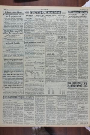 YENİ SA BAYFA : 4 I D. Demiryolları ilânları Kömür yükleme ve boşalt- ma işi yaptırılacak Birinci işletme satın alma...