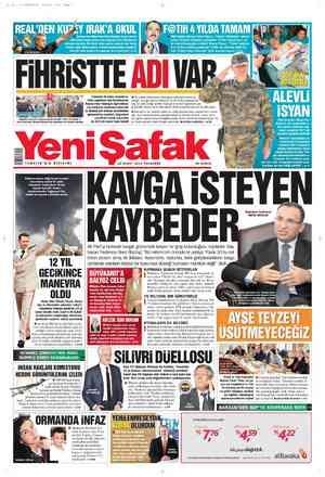Yeni Şafak Gazetesi 16 Şubat 2012 kapağı
