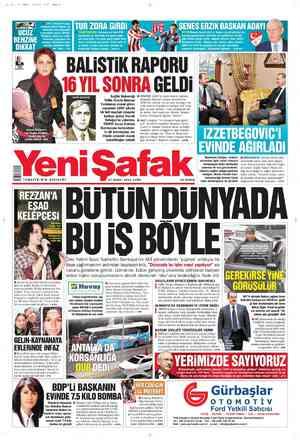 Yeni Şafak Gazetesi 17 Şubat 2012 kapağı