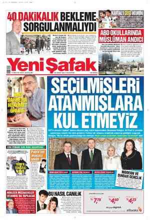 Yeni Şafak Gazetesi 20 Şubat 2012 kapağı