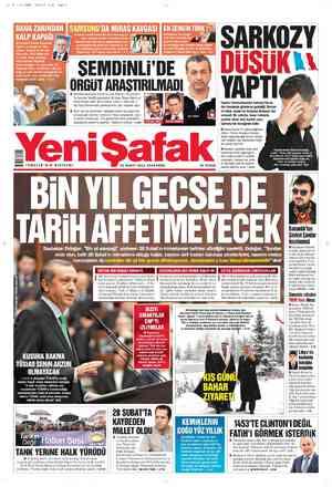 Yeni Şafak Gazetesi 29 Şubat 2012 kapağı